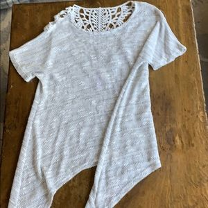 Gray knit blouse with lace detail